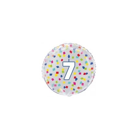18 inch Age 7 Birthday Confetti Cheer Balloon