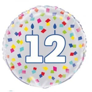 18 inch Age 12 Confetti Cheer Balloon