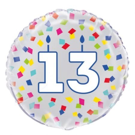 18 inch Age 13 Confetti Cheer Balloon