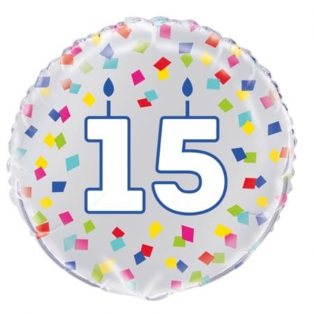 18 inch Age 15 Confetti Cheer Balloon