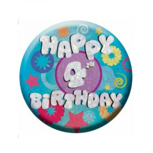 Small Clip-On Badge - Happy 4th Birthday