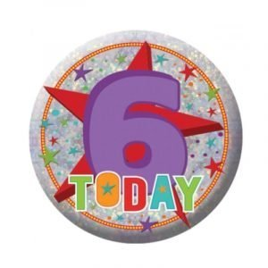 Small Clip-On Badge - Happy 6th Birthday