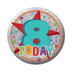 Small Clip-On Badge - Happy 8th Birthday