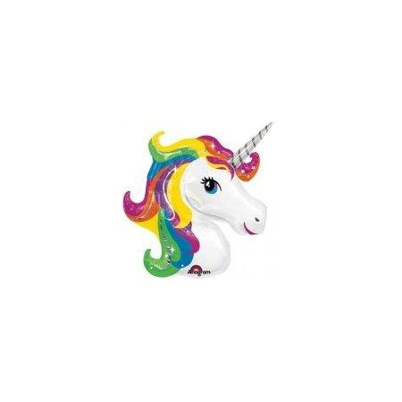 33 inch Supershape Balloon - Rainbow Unicorn Head