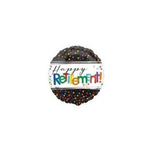 18 inch Happy Retirement Balloon - Rainbow Dots