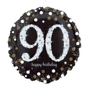18 inch Age 90 Black and Gold Sparkling Balloon
