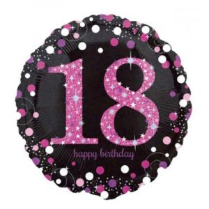 18 inch Age 18 Black and Pink Sparkling Balloon