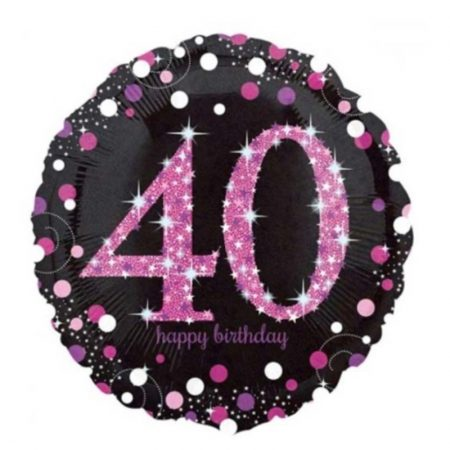18 inch Age 40 Black and Pink Sparkling Balloon