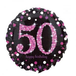 18 inch Age 50 Black and Pink Sparkling Balloon