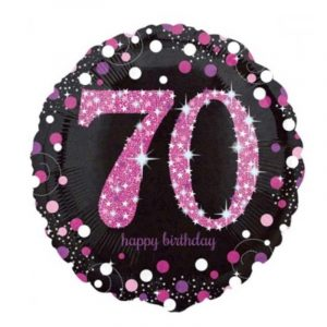 18 inch Age 70 Black and Pink Sparkling Balloon