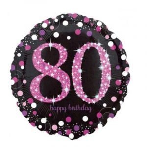 18 inch Age 80 Black and Pink Sparkling Balloon