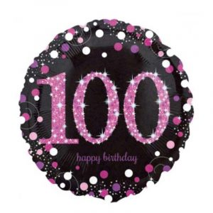18 inch Age 100 Black and Pink Sparkling Balloon