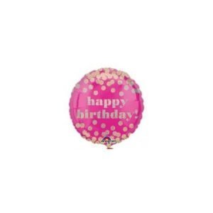 18 inch Happy Birthday Balloon Pink and Gold Confetti