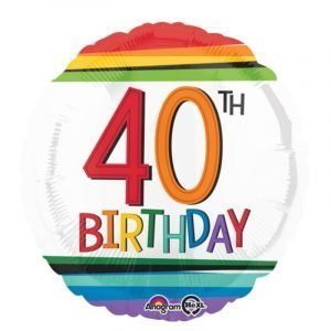 18 inch Age 40 Rainbow Stripes Balloon