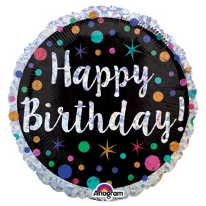 18 inch Happy Birthday Balloon Black and Silver