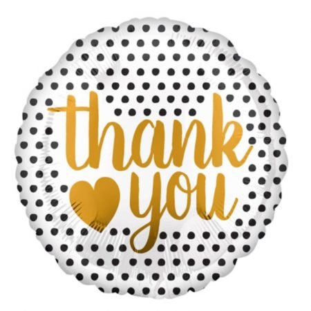 18 inch Thank You - Black and Gold Balloon