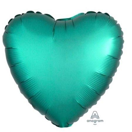 18 inch Satin Heart Balloon - Jade Green