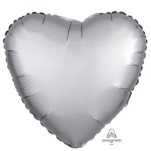 18 inch Satin Heart Balloon - Platinum Silver