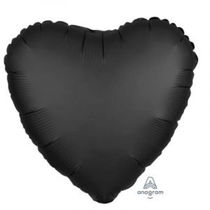 18 inch Satin Heart Balloon - Black