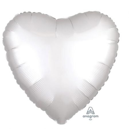 18 inch Satin Heart Balloon - White