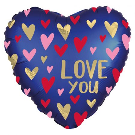 18 inch Heart Balloon - Love You Midnight Blue with Foil Hearts
