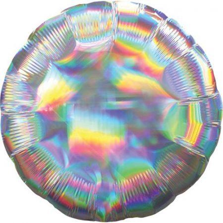 18 inch Round Balloon - Iridescent Silver
