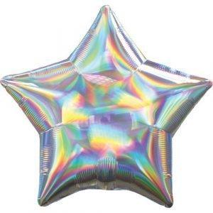 18 inch Iridescent Star Balloon - Silver