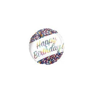 18 inch Happy Birthday Balloon Rainbow Confetti