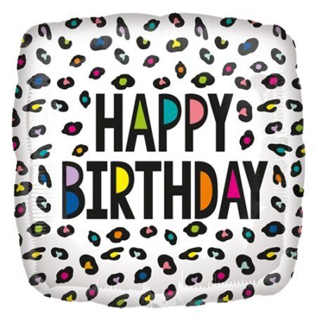 18 inch Happy Birthday Balloon Rainbow Leopard