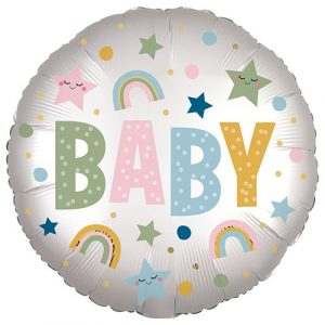 18 inch New Baby - Baby Pastel Rainbows Balloon