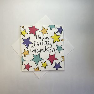 Happy Birthday Grandson Coloured Stars Card
