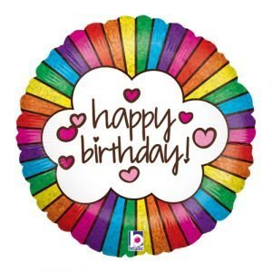 18 inch Happy Birthday Balloon Retro Rainbow