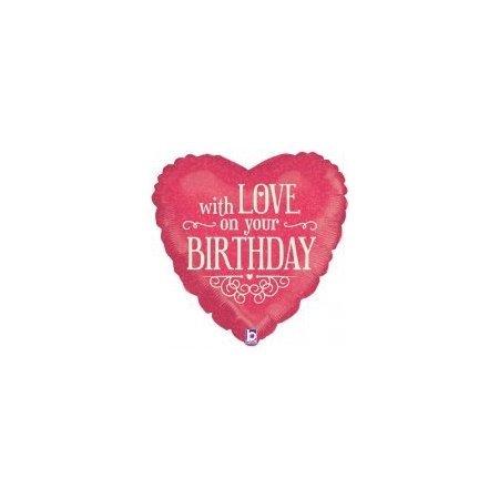 18 inch Happy Birthday Heart Balloon With Love