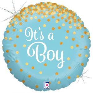18 inch New Baby - It's A Boy Blue and Gold Spots Balloon