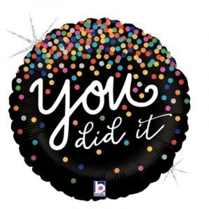 18 inch Congratulations - You Did It Black Holographic Balloon