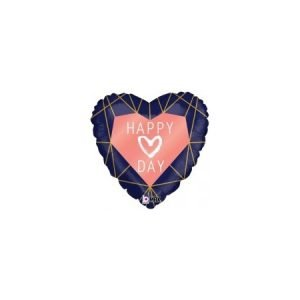18 inch Heart Balloon - Happy Day Navy and Rose Gold