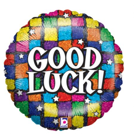 18 inch Good Luck - Squares Balloon