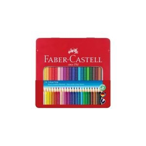 Faber Castell Tin of Grip Colouring Pencils x 24