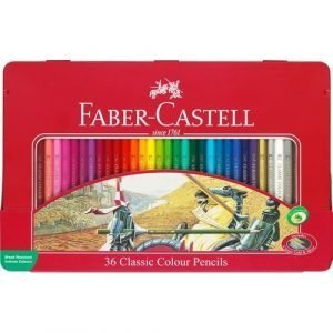 Faber Castell Tin of Classic Colouring Pencils x 36