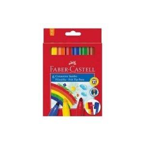 Faber Castell Jumbo Connector Fibre Tip Pens x 6