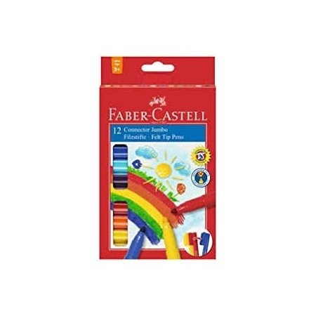 Faber Castell Jumbo Connector Fibre Tip Pens x 12