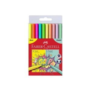 Faber Castell Grip Colour Markers x 10 - Neon and Pastels