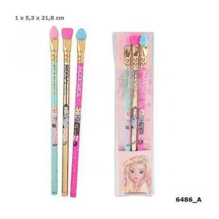 Top Model Graphite Pencil With Make-up Brush Eraser Topper