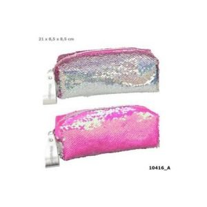 Top Model Reversible Sequin Pencil Case - Neon Pink / Silver