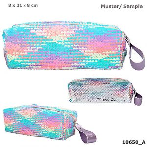 Top Model Reversible Sequin Pencil Case - Pastels / Silver
