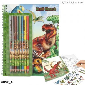 Dino World Colouring & Sticker Book With 8 Coloured Pencils