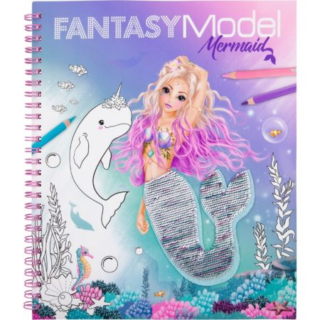 Fantasy Model Sequin Mermaid Colouring Book