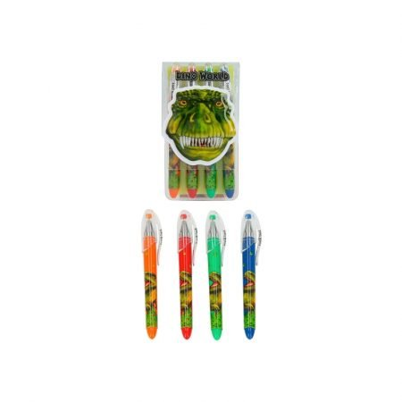 Dino World Pack of 4 Gel Pens