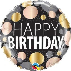18 inch Happy Birthday Metallic Dots Balloon