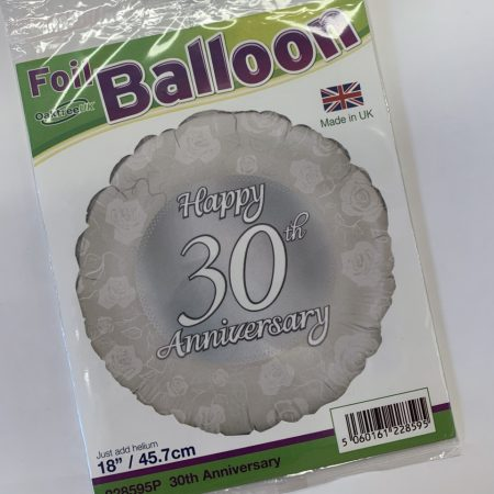 18 inch Happy 30th Anniversary - Pearl Floral Balloon